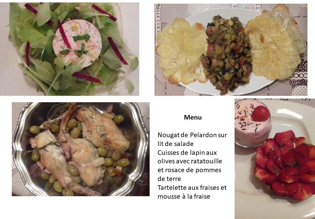 Exemple menu Table d'Hôtes - Gite roulotte Entre Vignes et Oliviers - Gard Cévennes Occitanie