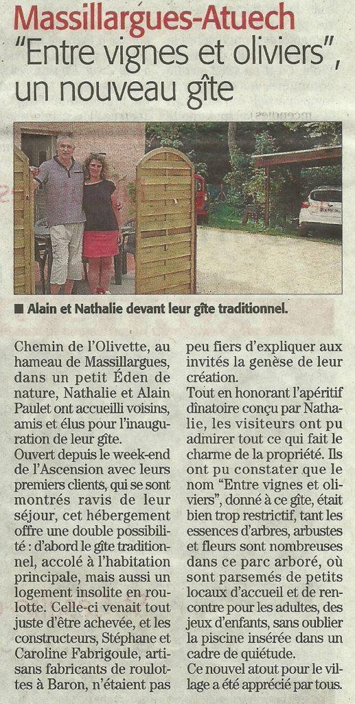 Midi Libre - Gite Roulotte Entre Vignes et Oliviers - Cévennes