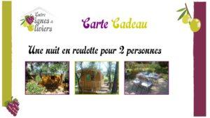 carte cadeau - Gite et Roulotte Entre Vignes et Oliviers - cévennes - gard - tarifs