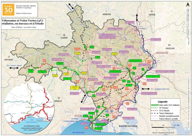 carte voies vertes gard - entre vignes et oliviers - roulotte gite - cevennes