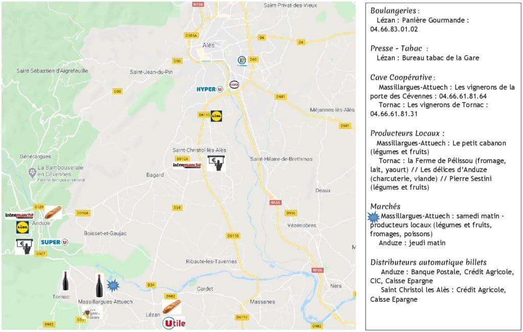 magasins charte sanitaire Covid-19 - gite roulotte Entre vignes et oliviers - Cevennes - Gard