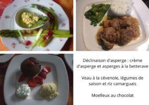 menu terroir - gite roulotte entre vignes et oliviers - cevennes - gard