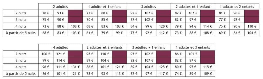 tarifs gite sans contrainte - entre vignes et oliviers - cevennes - gard