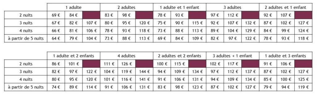tarifs roulotte sans contrainte - entre vignes et oliviers - cevennes - gard