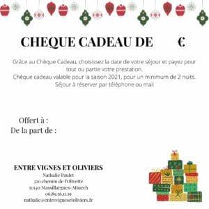 cheque cadeau - roulotte gite entre vignes et oliviers - cevennes - gard - occitanie